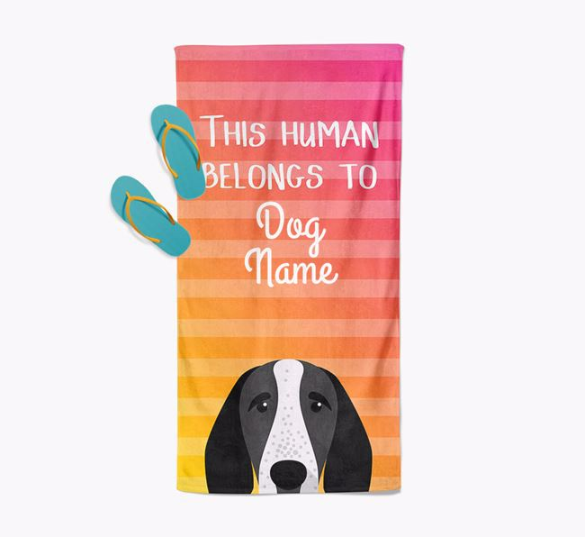 Personalised Pool Towel 'This Human Belongs To Your Dog' with Braque D'Auvergne Icon