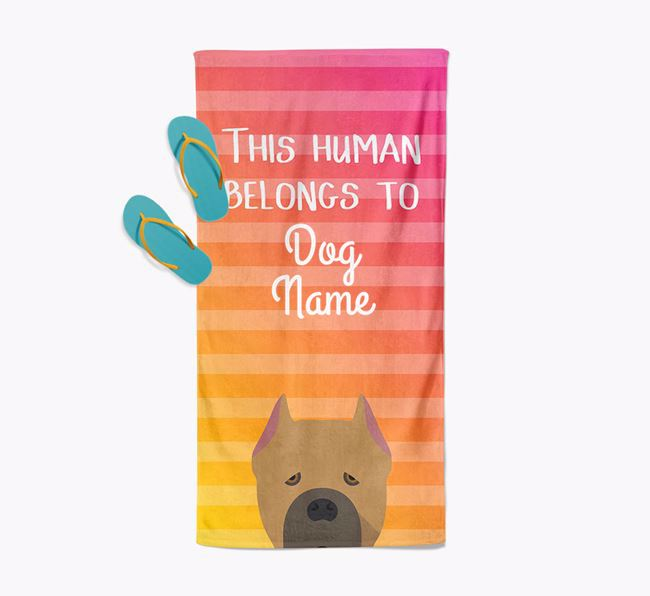 Personalised Pool Towel 'This Human Belongs To Your Dog' with Cane Corso Italiano Icon