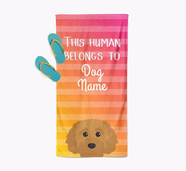 Personalised Pool Towel 'This Human Belongs To Your Dog' with Cavapoochon Icon