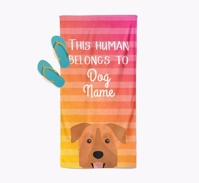 Personalised Pool Towel 'This Human Belongs To Your Dog' with Chinook Icon