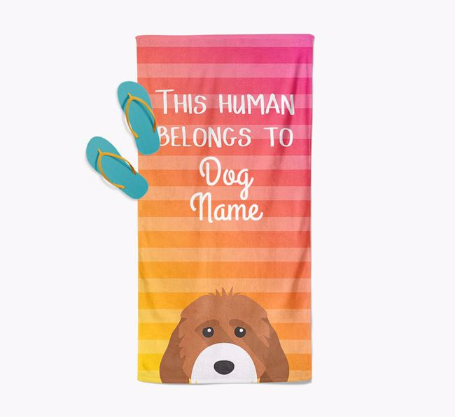 Personalised Pool Towel 'This Human Belongs To Your Dog' with Cockapoo Icon