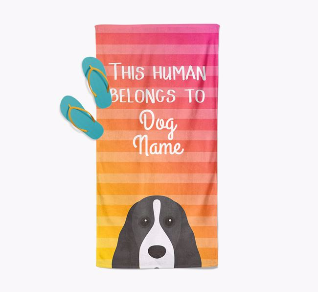 Personalised Pool Towel 'This Human Belongs To Your Dog' with Cocker Spaniel Icon