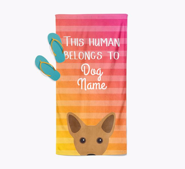 Personalised Pool Towel 'This Human Belongs To Your Dog' with Cojack Icon