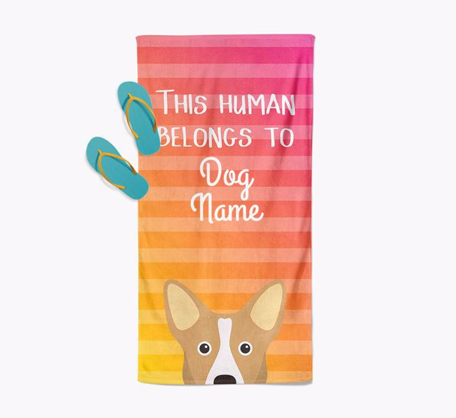 Personalised Pool Towel 'This Human Belongs To Your Dog' with Corgi Icon