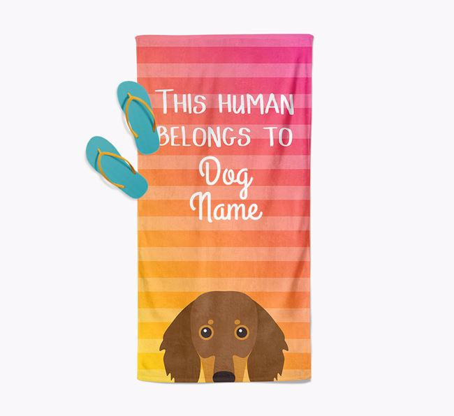 Personalised Pool Towel 'This Human Belongs To Your Dog' with Dachshund Icon