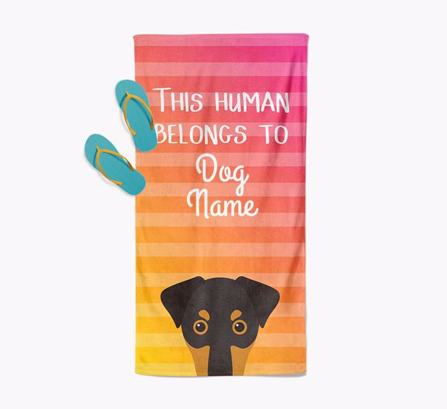 Personalised Pool Towel 'This Human Belongs To Your Dog' with Dobermann Icon