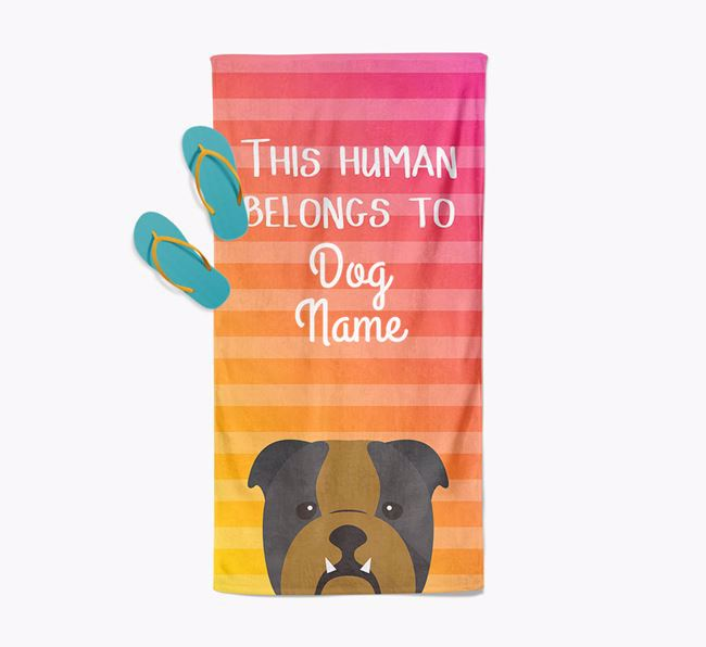 Personalised Pool Towel 'This Human Belongs To Your Dog' with English Bulldog Icon