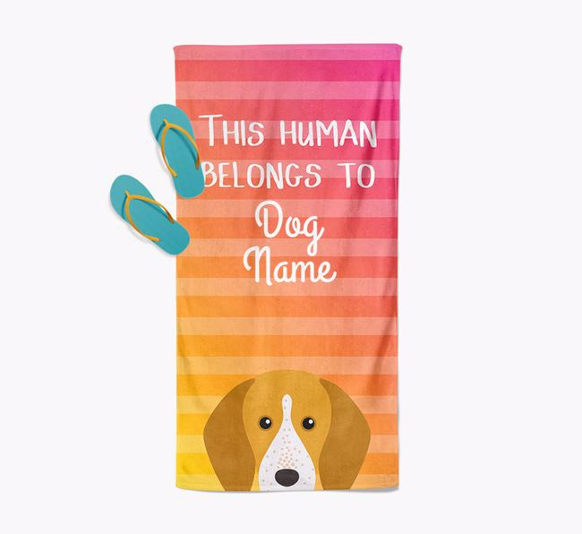 Personalised Pool Towel 'This Human Belongs To Your Dog' with English Coonhound Icon