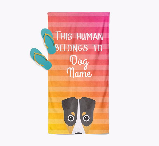 Personalised Pool Towel 'This Human Belongs To Your Dog' with Fox Terrier Icon