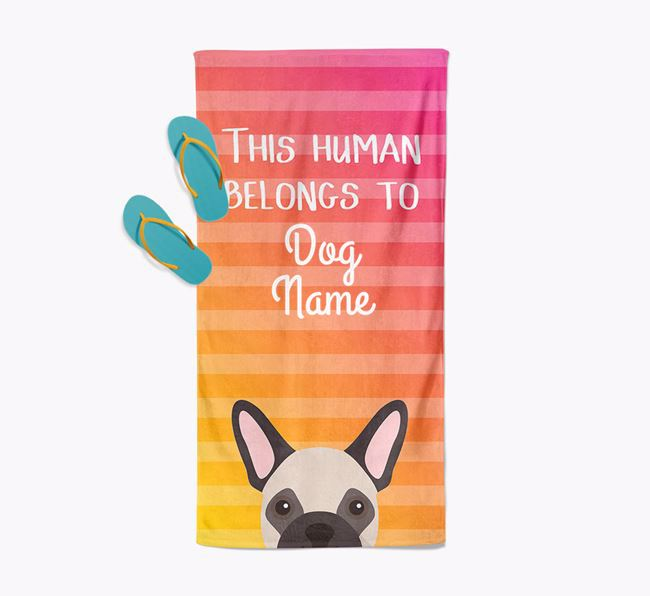 Personalised Pool Towel 'This Human Belongs To Your Dog' with French Bulldog Icon