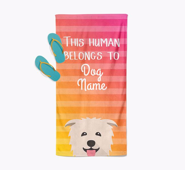 Personalised Pool Towel 'This Human Belongs To Your Dog' with Glen Of Imaal Terrier Icon