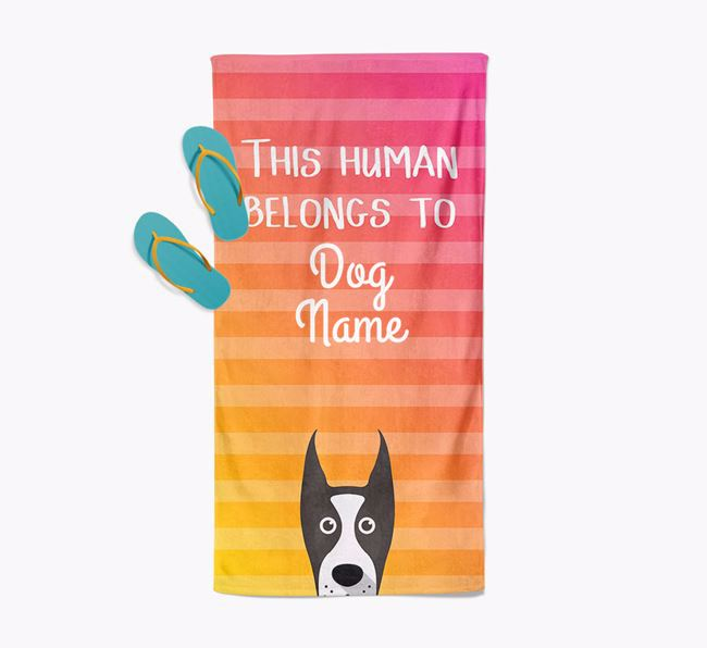 Personalised Pool Towel 'This Human Belongs To Your Dog' with Great Dane Icon