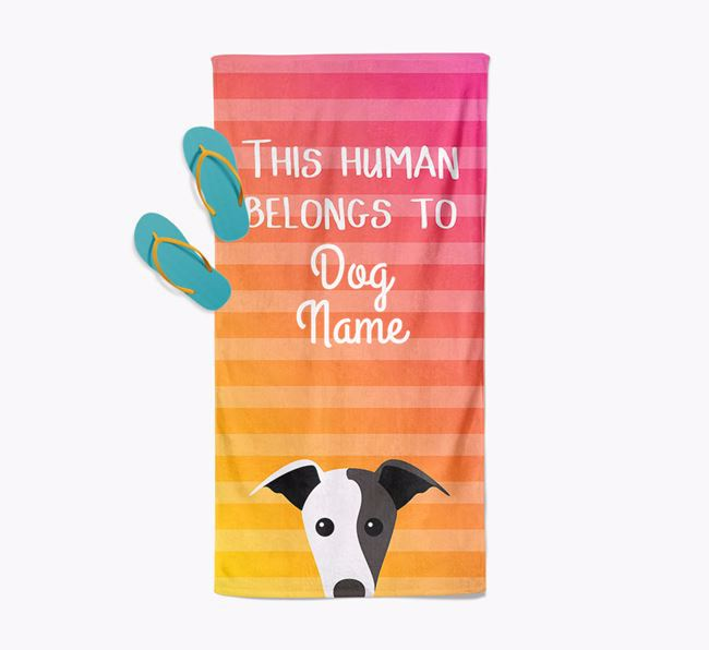 Personalised Pool Towel 'This Human Belongs To Your Dog' with Greyhound Icon