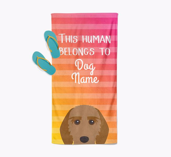 Personalised Pool Towel 'This Human Belongs To Your Dog' with Griffon Fauve De Bretagne Icon