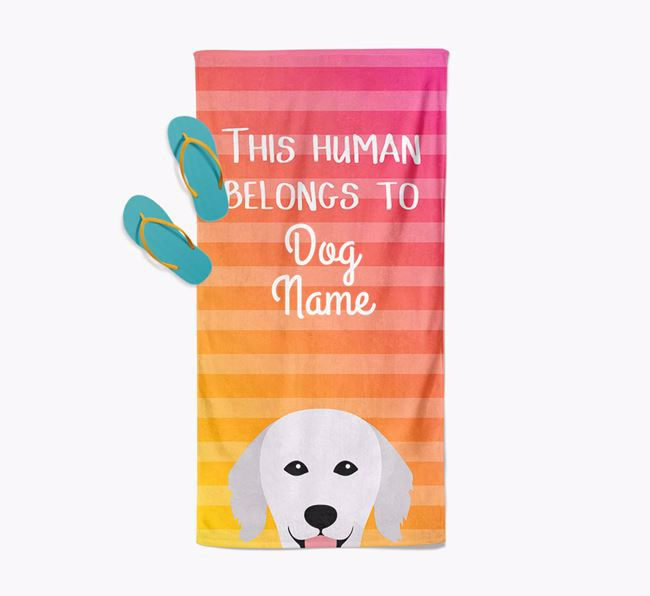 Personalised Pool Towel 'This Human Belongs To Your Dog' with Hungarian Kuvasz Icon
