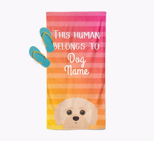 Personalised Pool Towel 'This Human Belongs To Your Dog' with Jack-A-Poo Icon
