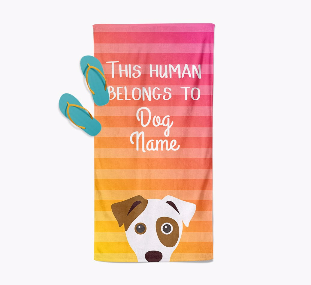Personalised Pool Towel 'This Human Belongs To {dogsName}' with Dog Icon Beach Towel with slippers