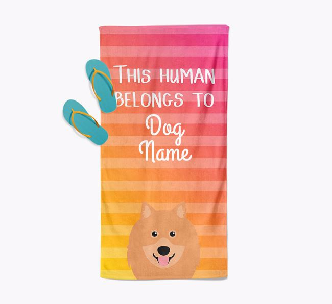 Personalised Pool Towel 'This Human Belongs To Your Dog' with Keeshond Icon