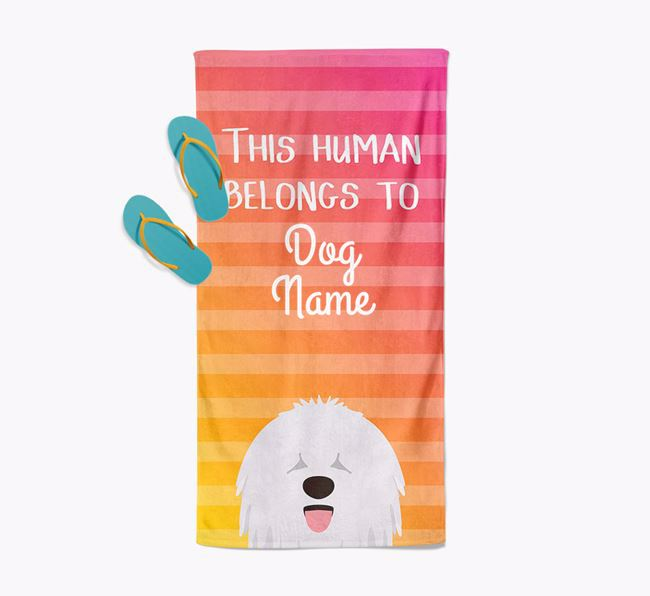 Personalised Pool Towel 'This Human Belongs To Your Dog' with Komondor Icon