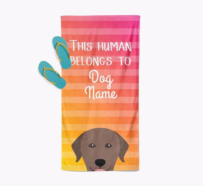 Personalised Pool Towel 'This Human Belongs To Your Dog' with Labrador Retriever Icon