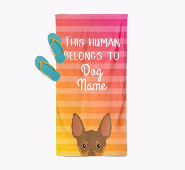Personalised Pool Towel 'This Human Belongs To Your Dog' with Miniature Pinscher Icon