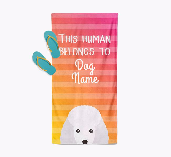 Personalised Pool Towel 'This Human Belongs To Your Dog' with Miniature Poodle Icon