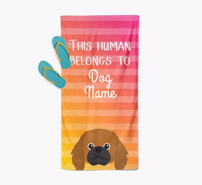 Personalised Pool Towel 'This Human Belongs To Your Dog' with Pekingese Icon
