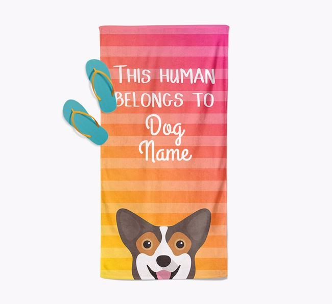 Personalised Pool Towel 'This Human Belongs To Your Dog' with Pembroke Welsh Corgi Icon