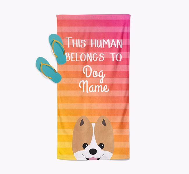 Personalised Pool Towel 'This Human Belongs To Your Dog' with Pomeranian Icon