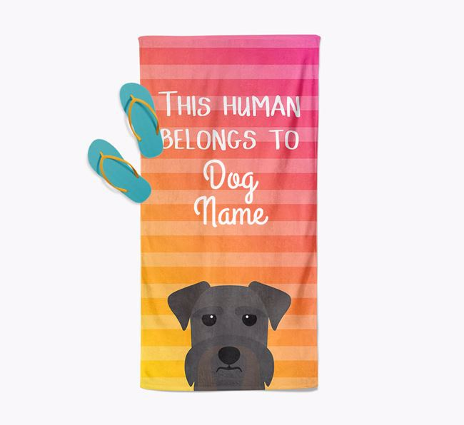 Personalised Pool Towel 'This Human Belongs To Your Dog' with Schnauzer Icon