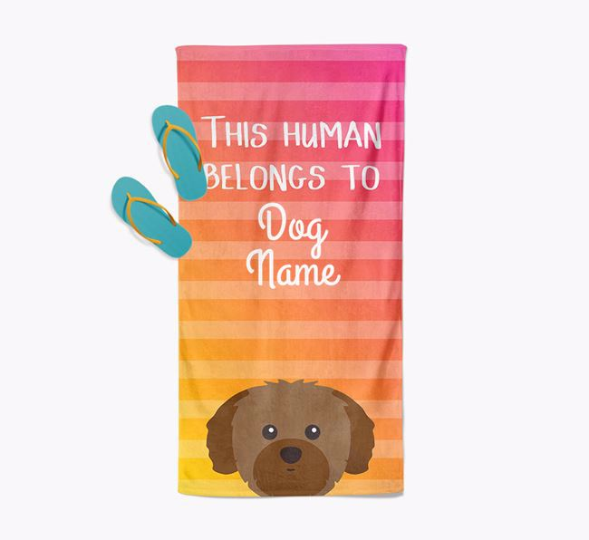 Personalised Pool Towel 'This Human Belongs To Your Dog' with Shih Tzu Icon