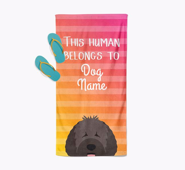 Personalised Pool Towel 'This Human Belongs To Your Dog' with Spanish Water Dog Icon