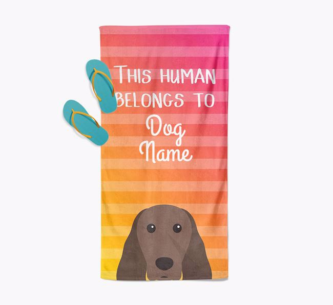 Personalised Pool Towel 'This Human Belongs To Your Dog' with Springer Spaniel Icon