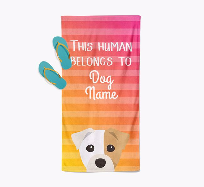 Personalised Pool Towel 'This Human Belongs To Your Dog' with Staffy Jack Icon