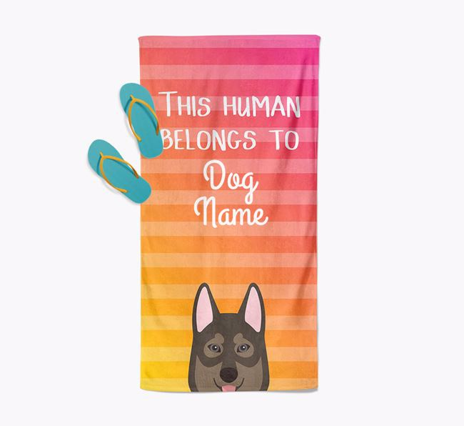 Personalised Pool Towel 'This Human Belongs To Your Dog' with Tamaskan Icon