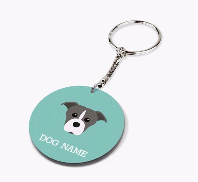 Personalised Staffordshire Bull Terrier Icon Keyring