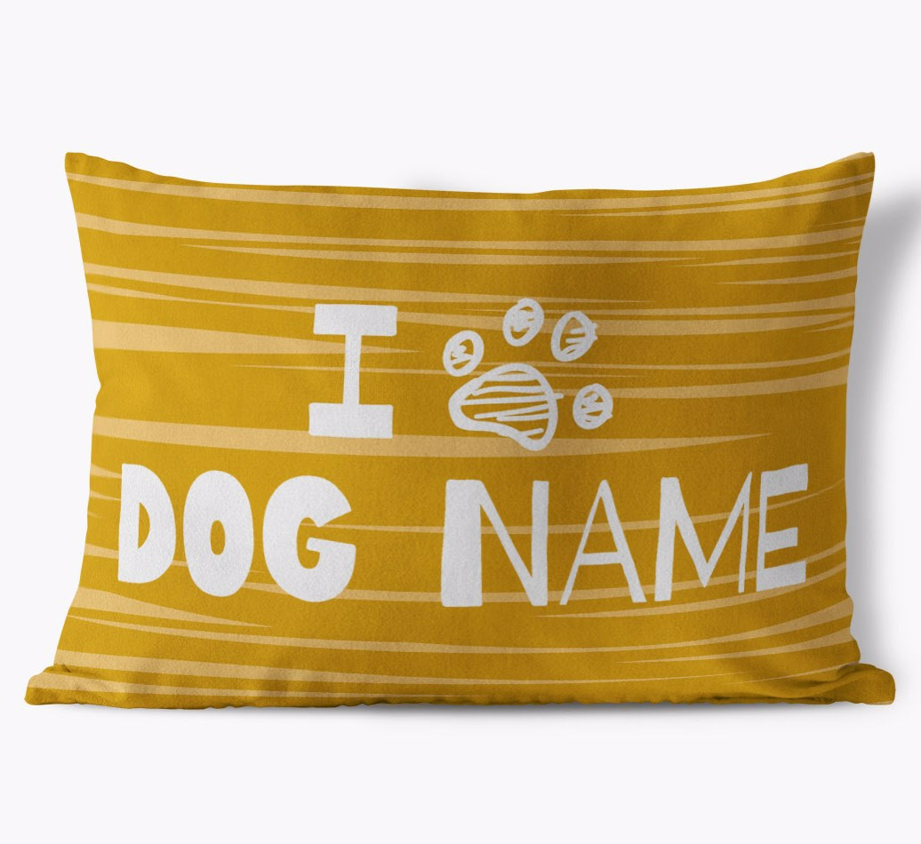 Dog personalized 'I Paw {dogsName}' Soft Touch Pillow in {colour} front view