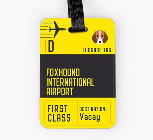 Personalised 'Foxhound International Airport' Luggage Tag