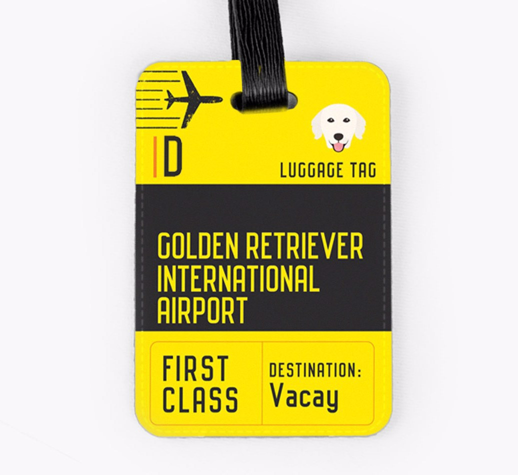 Golden Retriever Luggage Tag Front