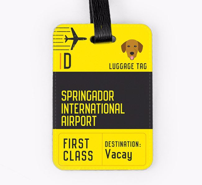 Personalised 'Springador International Airport' Luggage Tag
