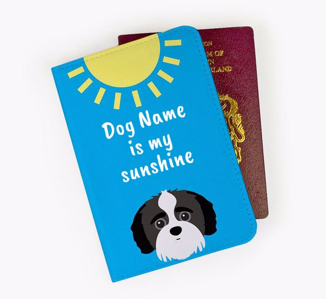 Personalised Passport Cover 'Your Dog is my sunshine' with Jack-A-Poo Icon