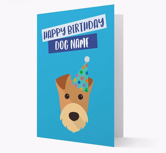 Personalised 'Happy Birthday Your Dog' Card with Airedale Icon