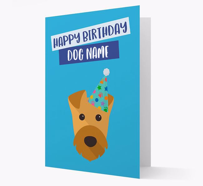 Personalized 'Happy Birthday Your Dog' Card with Airedale Icon
