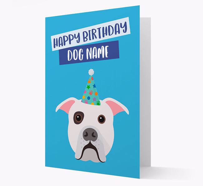 Personalized 'Happy Birthday Your Dog' Card with American Bulldog Icon