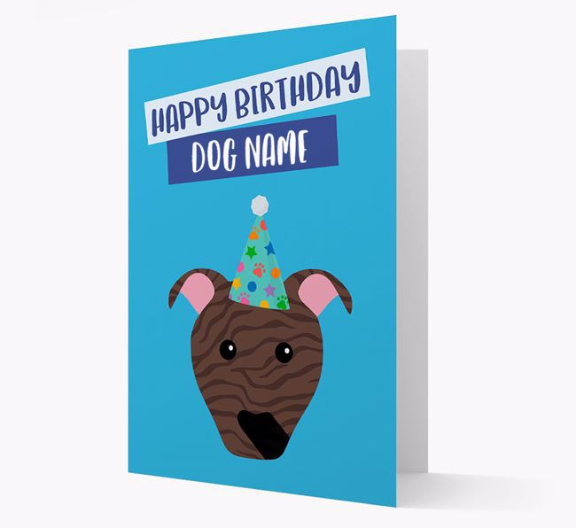 Personalized 'Happy Birthday Your Dog' Card with Pit Bull Terrier Icon