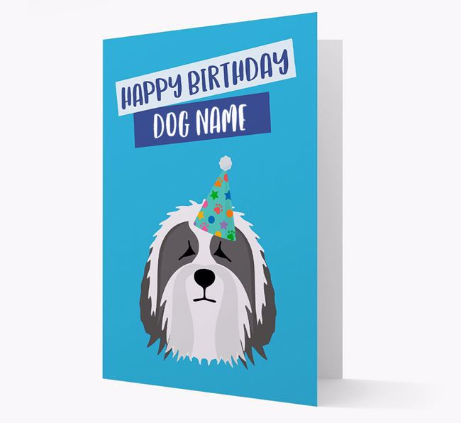 Personalized 'Happy Birthday Your Dog' Card with Bearded Collie Icon
