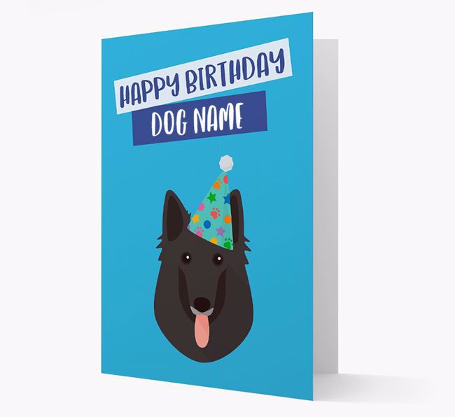 Personalized 'Happy Birthday Your Dog' Card with Belgian Shepherd Icon