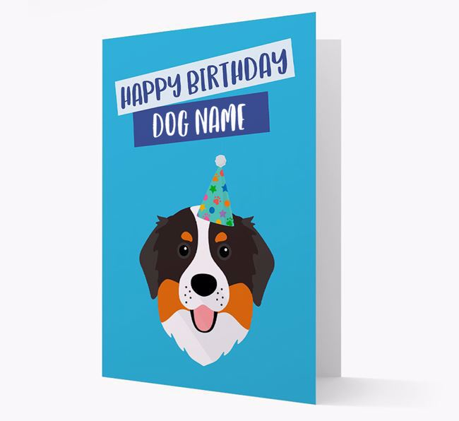 Personalized 'Happy Birthday Your Dog' Card with Bernese Icon