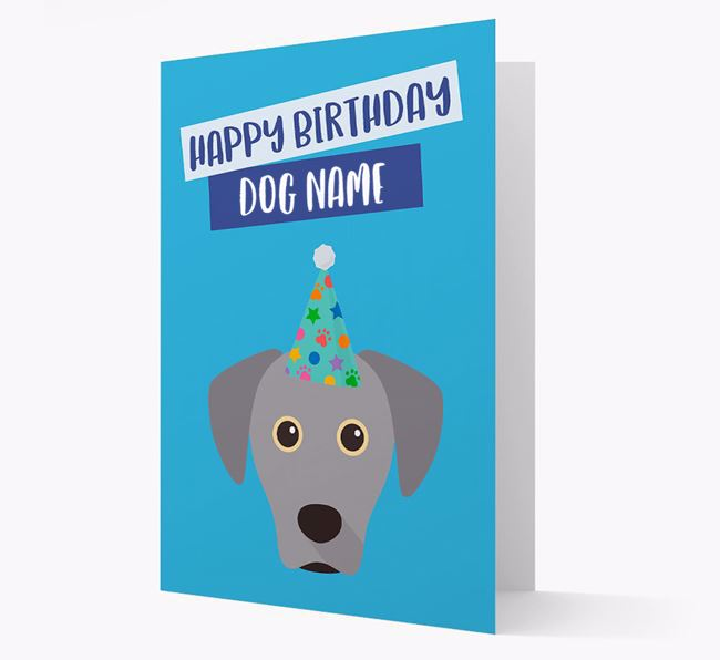 Personalized 'Happy Birthday Your Dog' Card with Blue Lacy Icon