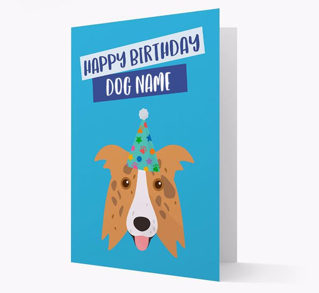 Personalised 'Happy Birthday Your Dog' Card with Border Collie Icon